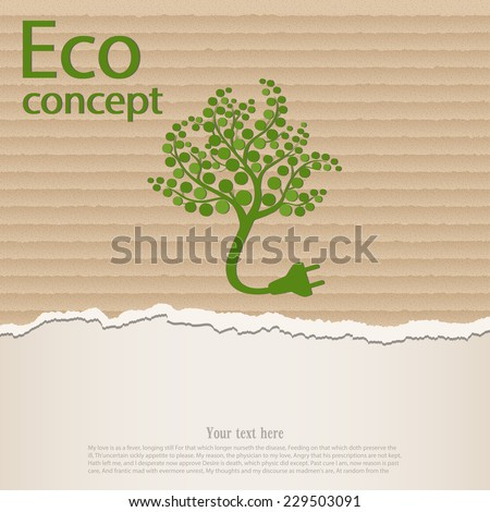 Ecology and waste plug symbol with eco friendly tag  on torn cardboard. Vector illustration - stock vector
