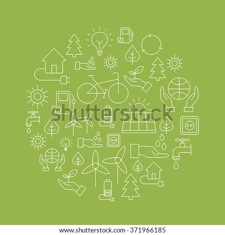 Ecology background made of icons representing the environment, renewable energies, nature conservation. Infographic modern thin lines vector design. - stock vector