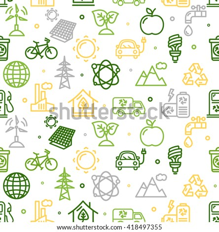 Ecology Background Pattern with Colorful Icons. Vector illustration - stock vector