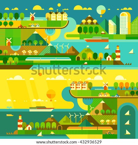 Ecology background. Travel cards. Flat style.  - stock vector
