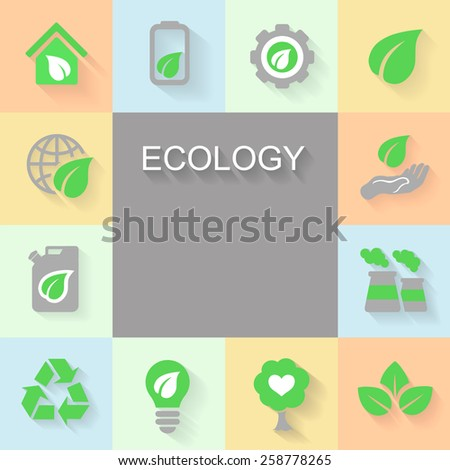 Ecology background with environment, green energy and pollution icons space for text.
