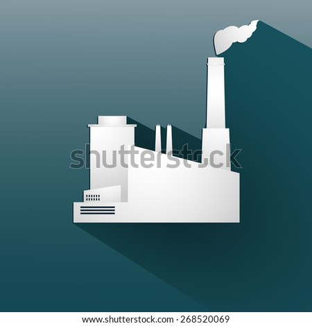 Ecology background with paper industrial objects, smoke and fire. On blue background. Vector illustration - stock vector