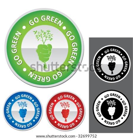 ecology badge - stock vector