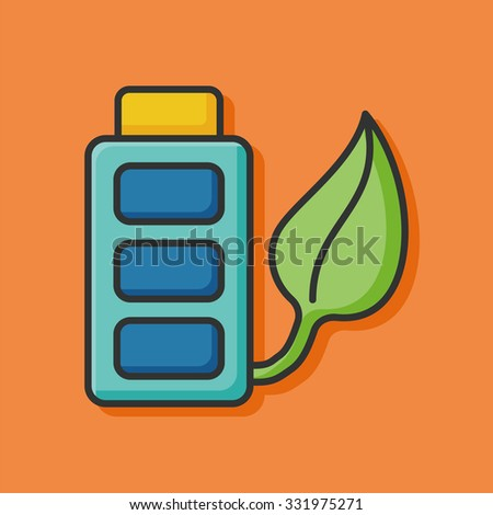 ecology battery icon - stock vector