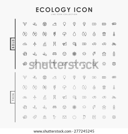 ecology bold and thin line icons - stock vector