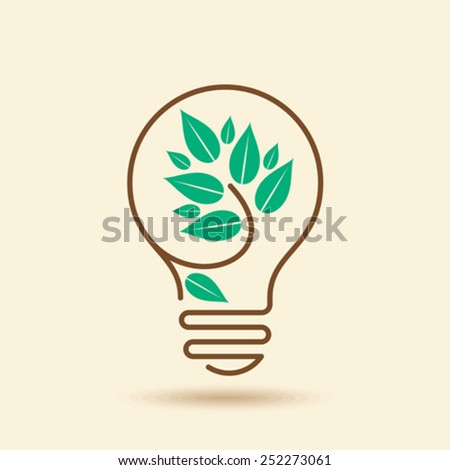 Ecology bulb light - stock vector