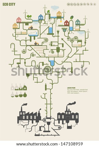 Ecology city - stock vector