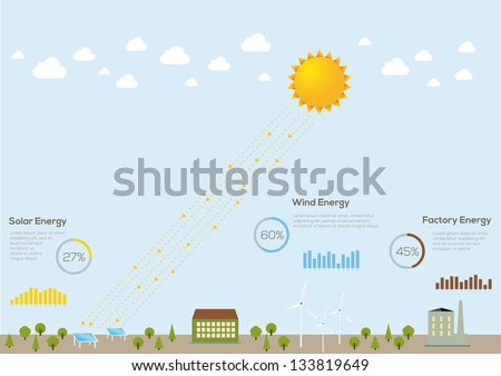 Ecology city, infographics vector elements. - stock vector