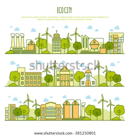 Ecology city landscapes vector  template with thin line icons of eco farm technology, sustainability of local environment, town ecology saving. Thin line graphic image concept. Alternative energy - stock vector