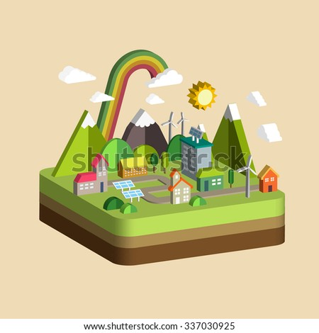 ecology city scenery concept in 3d isometric flat design - stock vector