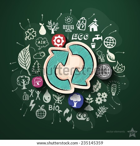 Ecology collage with icons on blackboard. Vector illustration