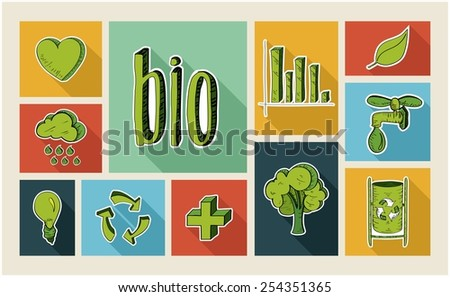 Ecology colorful hand drawn illustration style flat icon set . Environment concept ideal for app and website layout. EPS10 vector file. - stock vector