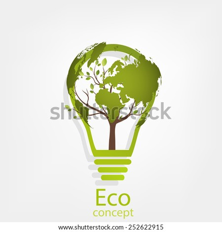 Ecology concept, a tree, a map of the world, rising from the bulb, vector illustration modern template design - stock vector