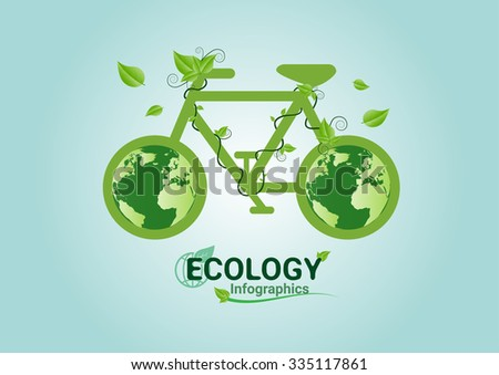 Ecology concept bicycle green. save world vector illustration. - stock vector