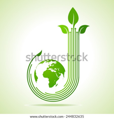 Ecology Concept - business logo with earth stock vector - stock vector