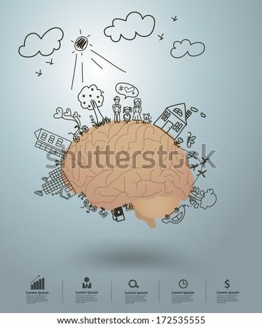 Ecology concept, Creative drawing on brain environment with happy family stories concept idea, Vector illustration modern design template - stock vector