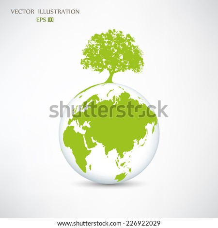 Ecology concept, Creative drawing on global environment, the green silhouette of a tree on the globe, Vector illustration modern design template - stock vector