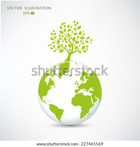 Ecology concept, Creative drawing on global environment, the green silhouette of a tree on the globe, Vector illustration modern design template