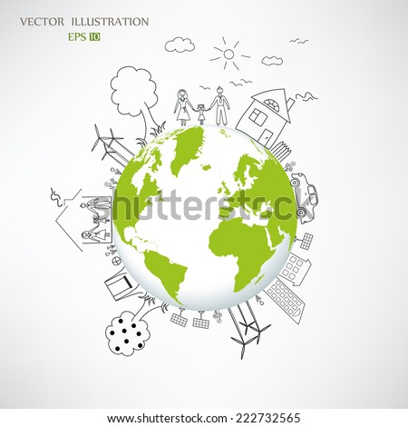 Ecology concept, Creative drawing on global environment with happy family stories concept idea, Vector illustration modern design template
