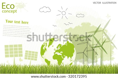 Ecology concept, creative drawing tree, globe, windmill and solar panels on the grass. Ecologically clean world. Vector illustration modern design. To paste the text - stock vector