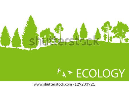 Ecology concept detailed forest tree illustration vector background card - stock vector