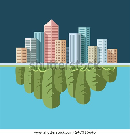 Ecology Concept - eco and polluted cityscape. Flat style vector illustration. - stock vector