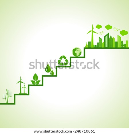 Ecology concept - eco cityscape and icons on stairs stock vector - stock vector