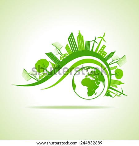 Ecology Concept - eco cityscape with earth stock vector - stock vector