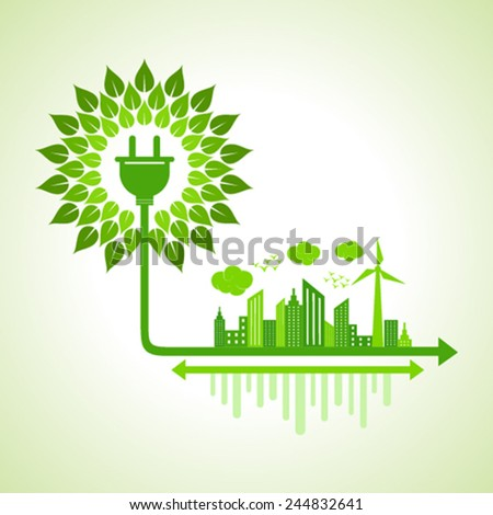 Ecology Concept - eco cityscape with electric plug stock vector - stock vector