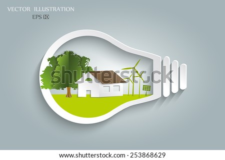 Ecology concept. Eco house and trees in the light bulb. Vector Illustration modern template design - stock vector