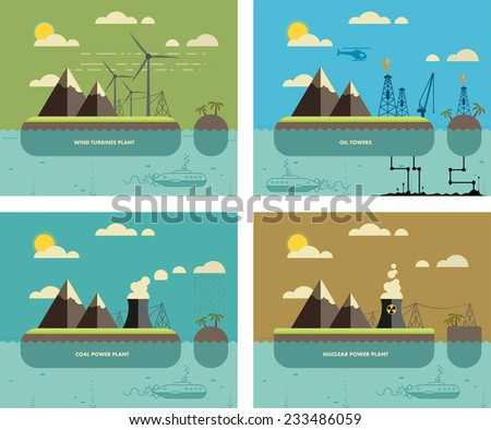 Ecology Concept. Environment, Green Energy and Nature Pollution Designs. Nuclear, coal, wind turbines power Plants and oil towers. Flat Style. - stock vector
