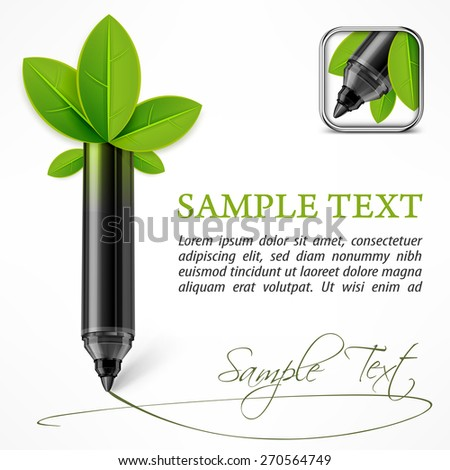 Ecology concept - felt pen with leaves & text, vector illustration - stock vector