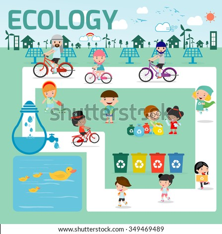 ecology concept. flat design illustration, Kids for Saving Earth ,Save the world, people save planet,save the water ecology concept, cartoon character, Ecology infographics - stock vector
