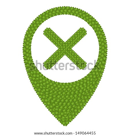 Ecology Concept, Fresh Green Four Leaf Clover Forming Map Pin Icon or Straight Pin and X Mark, Isolated on White Background  - stock vector