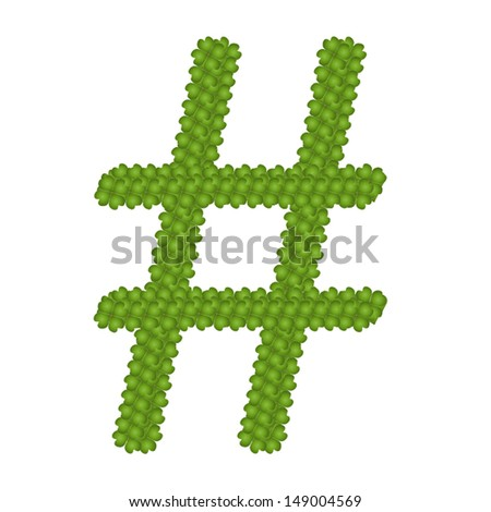 Ecology Concept, Fresh Green Four Leaf Clover Forming Number Sign Isolated on White Background