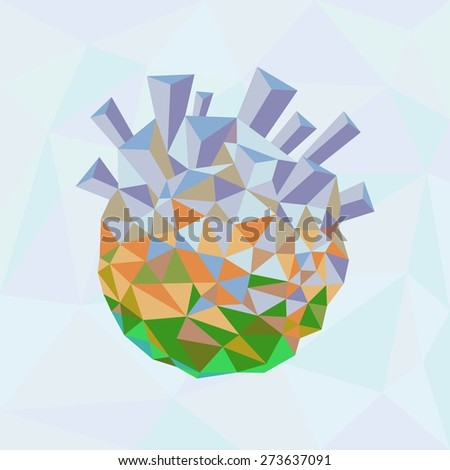 Ecology concept. Green planet being destroyed - stock vector