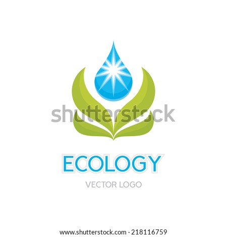 Ecology Concept Illustration - Abstract Vector Logo Sign Template. Leafs and drop illustration. Organic product logo. Design element.  - stock vector