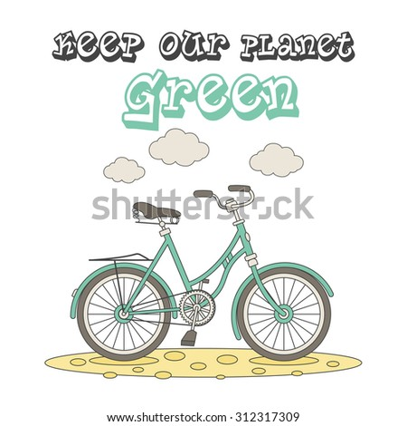 Ecology concept illustration with cartoon bicycle, isolated on white background.  - stock vector