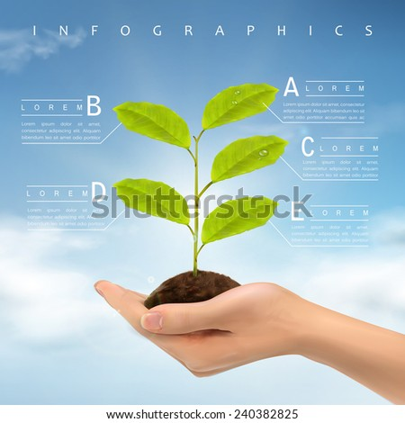 ecology concept infographic template design with realistic hand holding plant  - stock vector