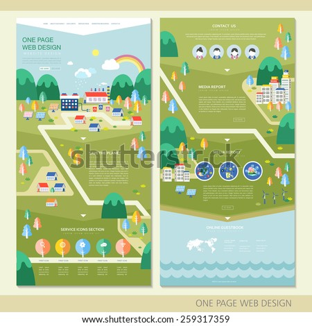 ecology concept one page website design template in flat  - stock vector