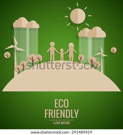 Ecology concept. Paper cut of family and tree on green background. Vector illustration. - stock vector
