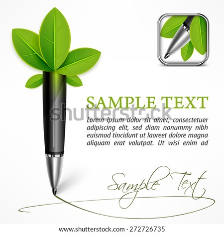 Ecology concept - pen with leaves & text, vector illustration - stock vector