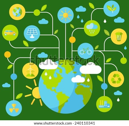 Ecology concept. Planet earth with buildings, transport and nature icons in flat style  - stock vector