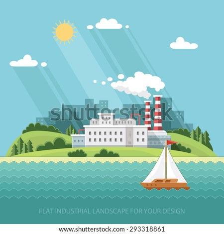 Ecology Concept - Plant - Factory near the river against the background of the city. Flat style vector illustration.