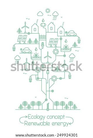 Ecology concept - Renewable energy - stock vector