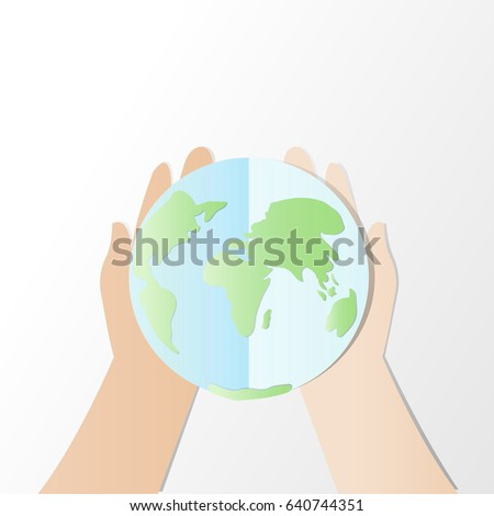 Ecology concept. save world or earth vector illustration, Hands try to holding The earth with Happy Earth Day text