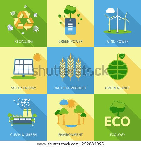 Ecology concept set with recycling green power wind and solar energy decorative icons isolated vector illustration - stock vector