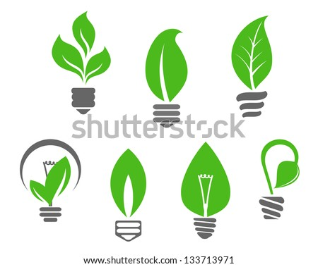 Ecology concept - symbols of light bulbs with green leaves or ecologic icon template. Jpeg (bitmap) version also available in gallery - stock vector