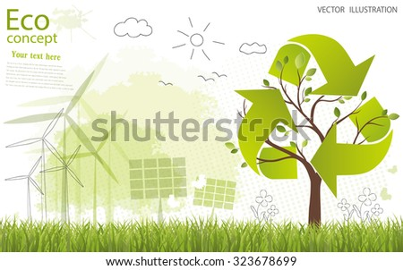 Ecology concept. Triangular recycle symbol around the tree in the form of maps of the world. creative drawing tree, globe, windmill and solar panels on the grass. Ecologically clean world. Vector