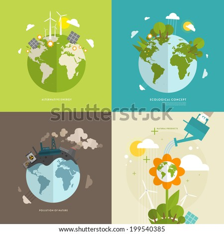 Ecology Concept Vector Icons Set for Environment, Green Energy and Nature Pollution Designs. Flat Style. - stock vector